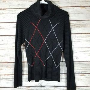 Kathie Lee Black Turtleneck Sweater, Small